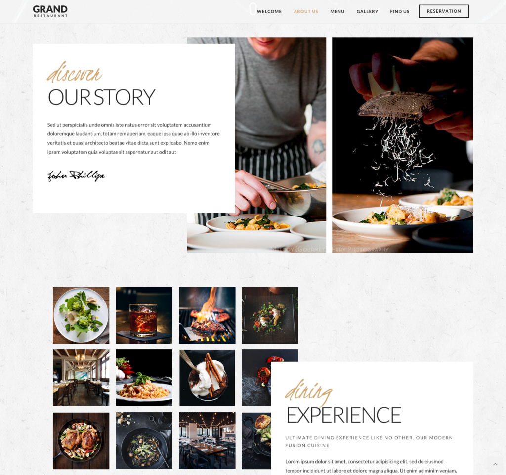 One Page   Grand Restaurant   Restaurant Theme